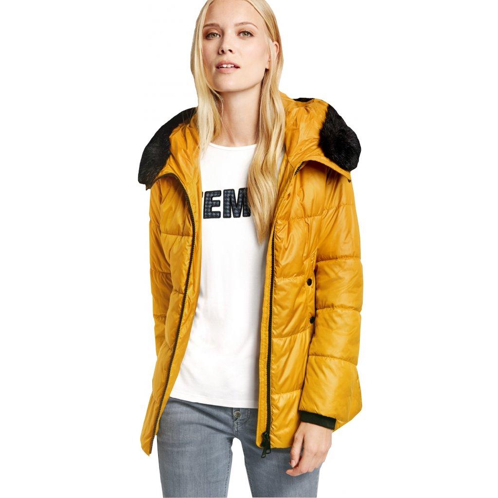 Dámska žltá bunda s kožušinou TAIFUN na zimu