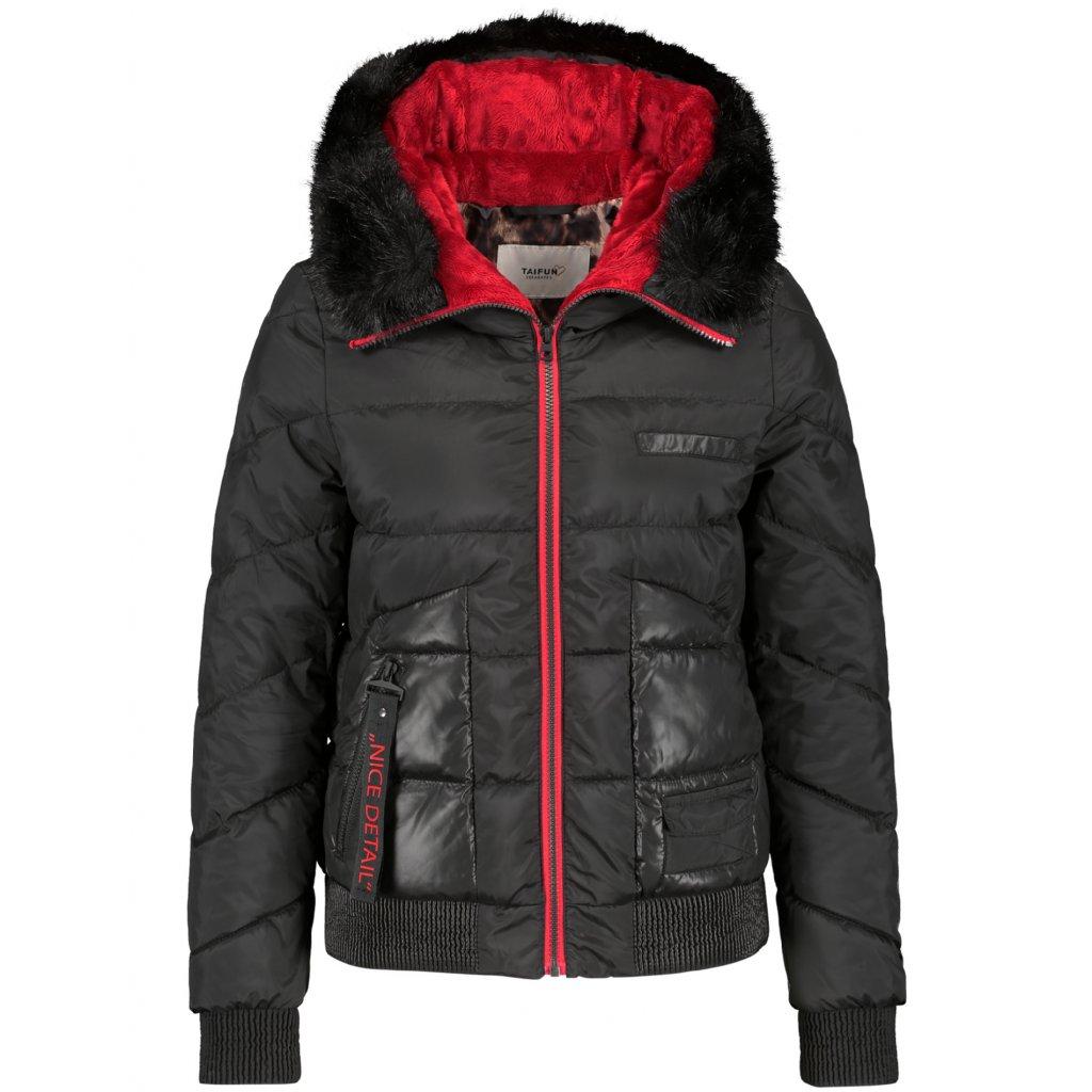 Dámska čierna bunda na zimu TAIFUN