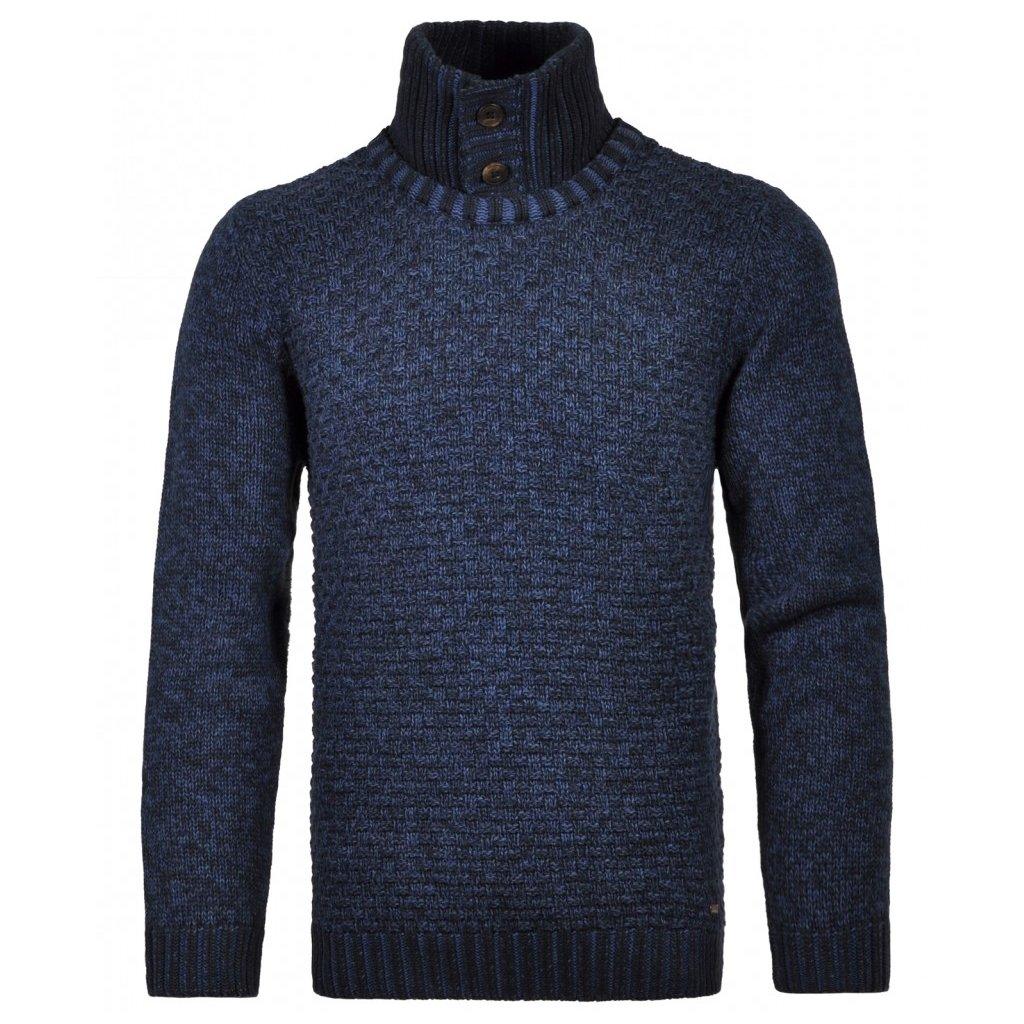Pánsky modrý pulóver so stojačikom RAGMAN