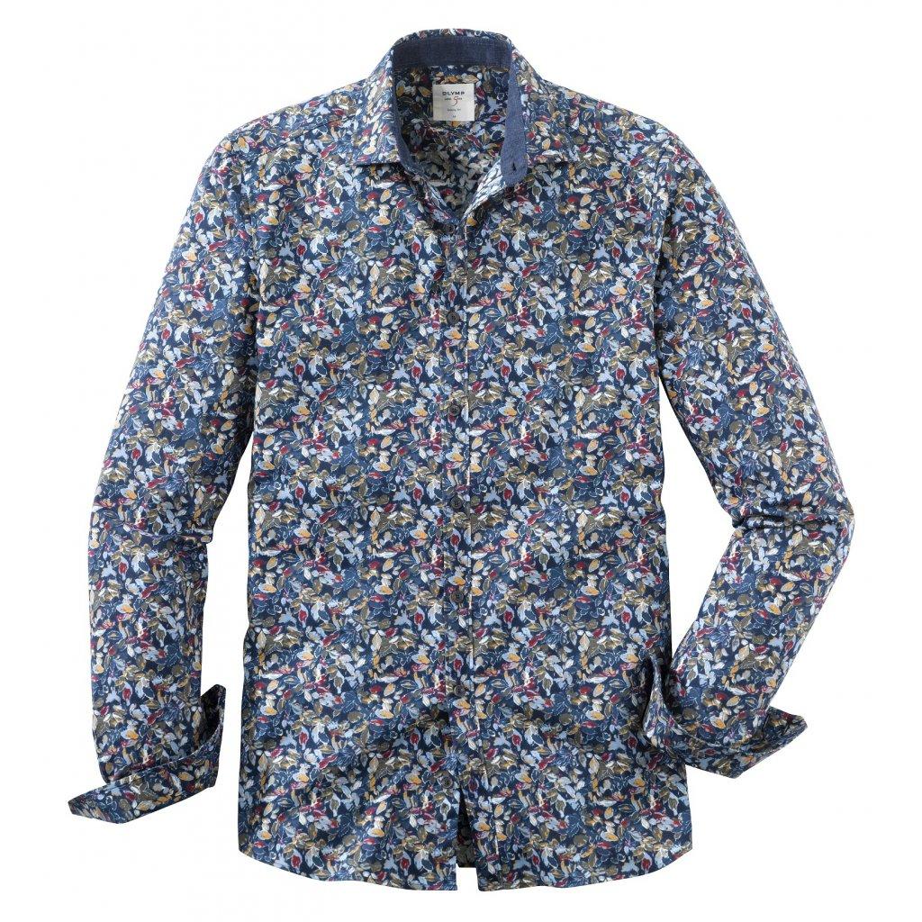 Casual vzorovaná modrá košeľa OLYMP, slim