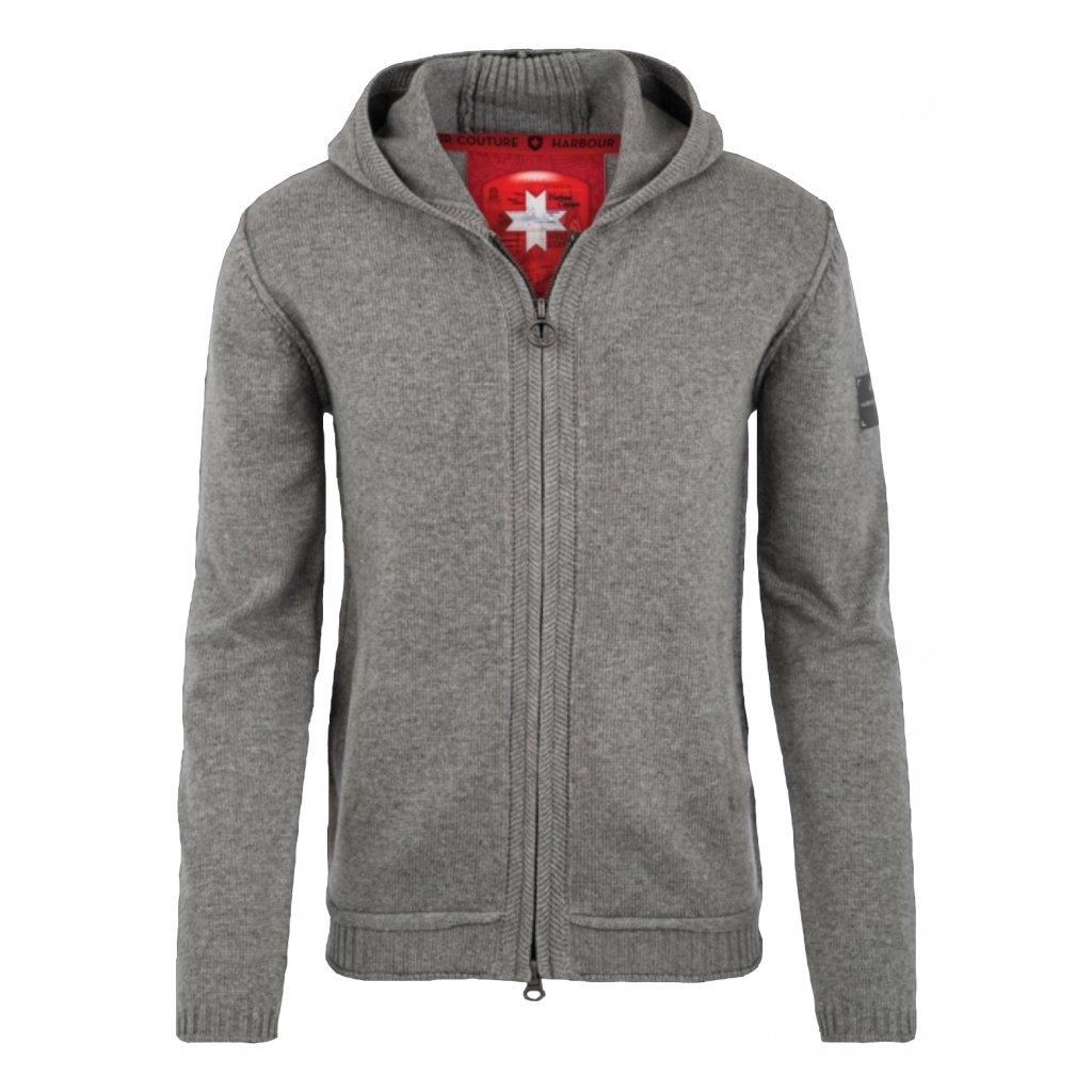 Pánsky sivý sveter na zips s kapucou WELLENSTEYN