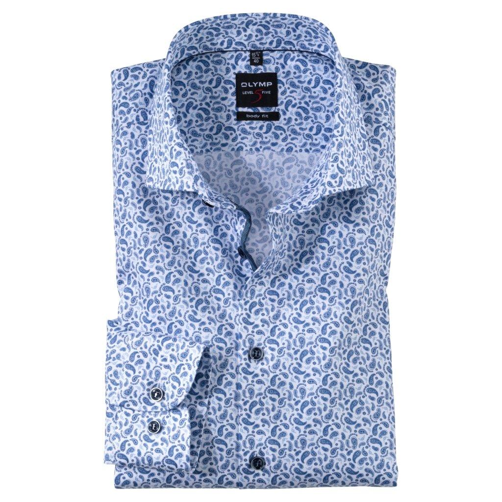 Moderná bavlnená košeľa s potlačou OLYMP, body fit