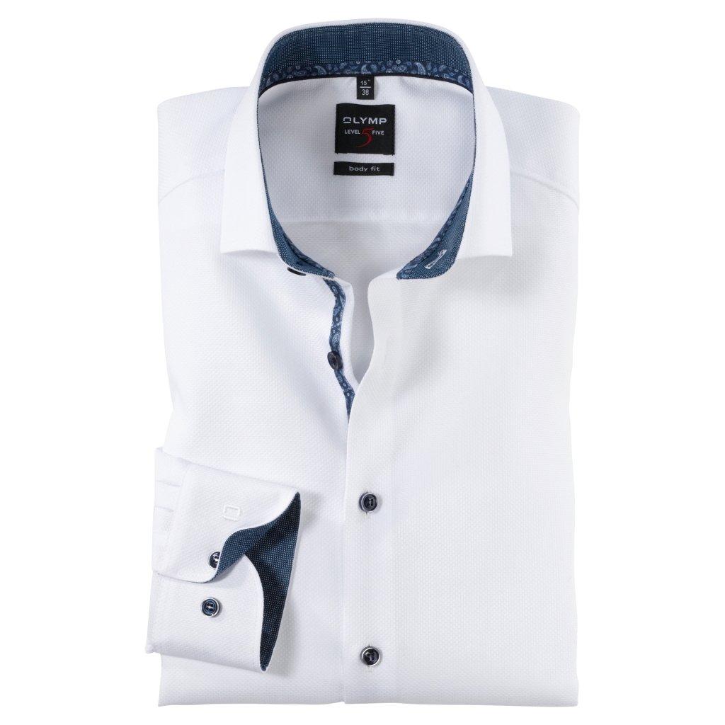 Biela spoločenská košeľa s kontrastnými detailami OLYMP, body fit