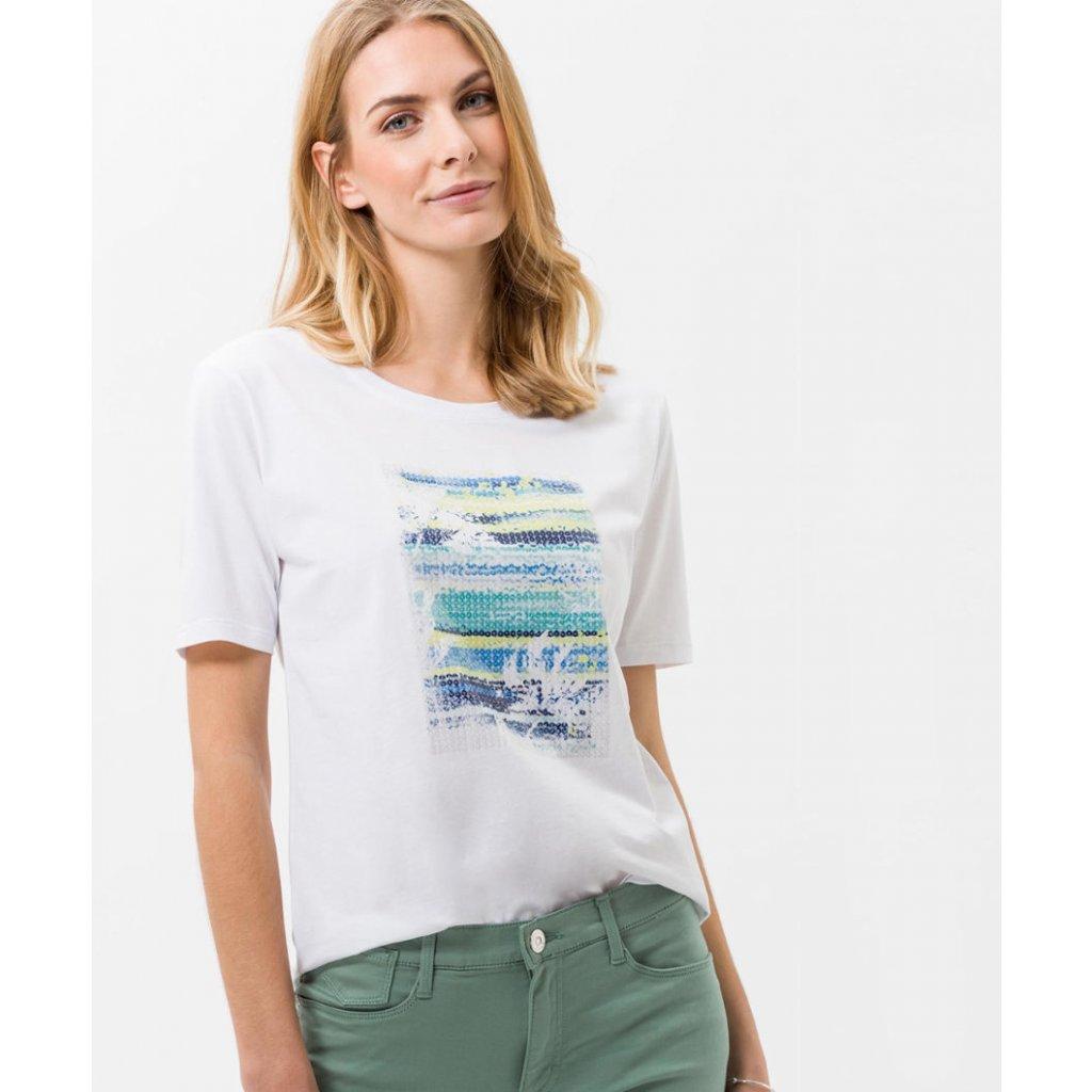 Biele dámske tričko spotlačou BRAX