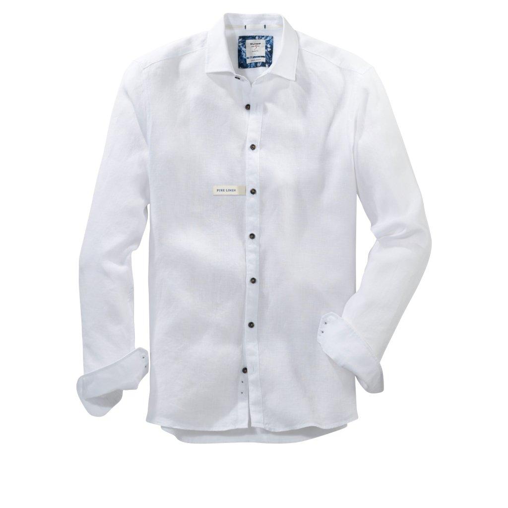 Pánska biela ľanová casual košeľa OLYMP, body fit