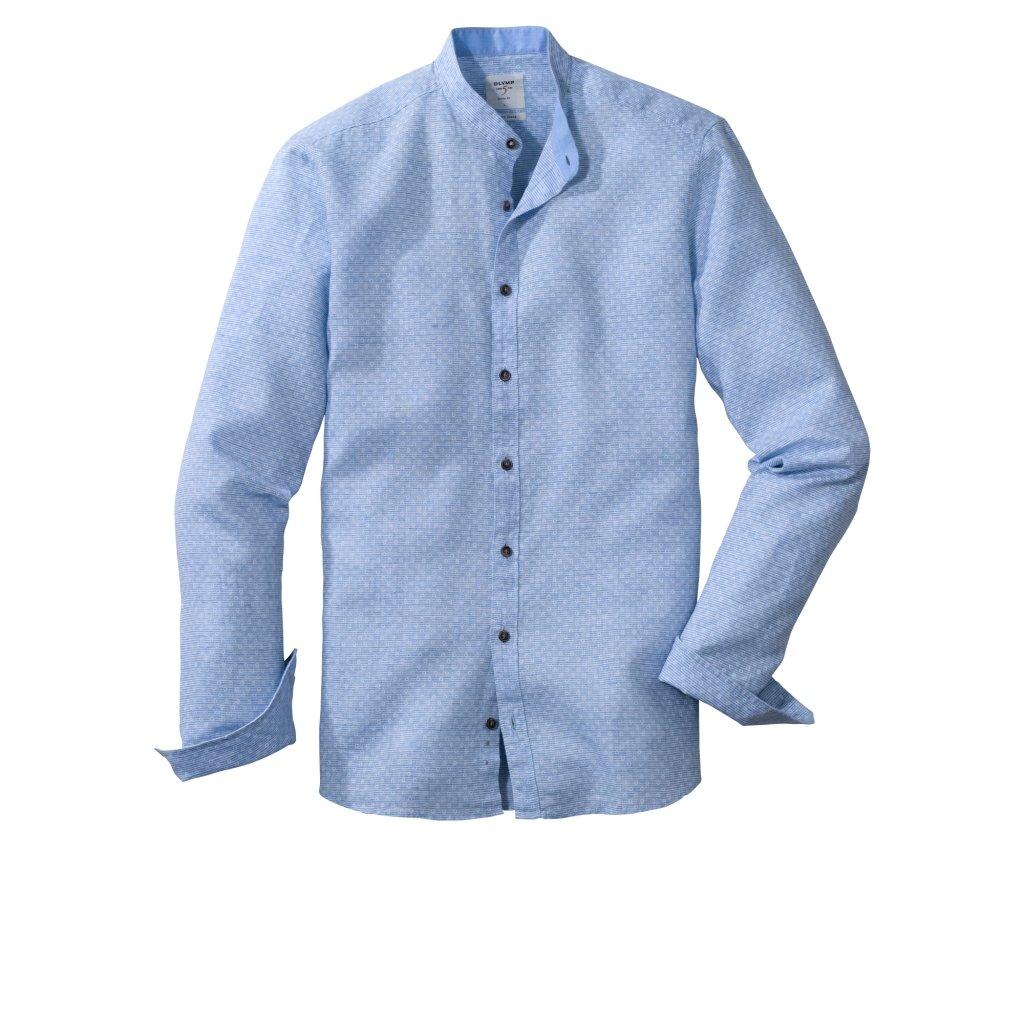 Pánska modrá ľanová košeľa so stojačikom OLYMP, body fit