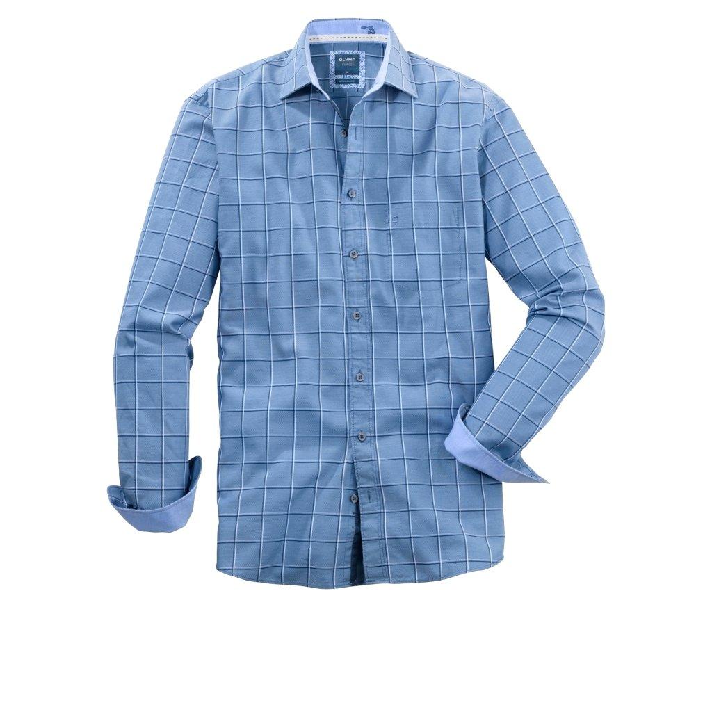 XXL pánska károvaná bavlnená casual košeľa OLYMP