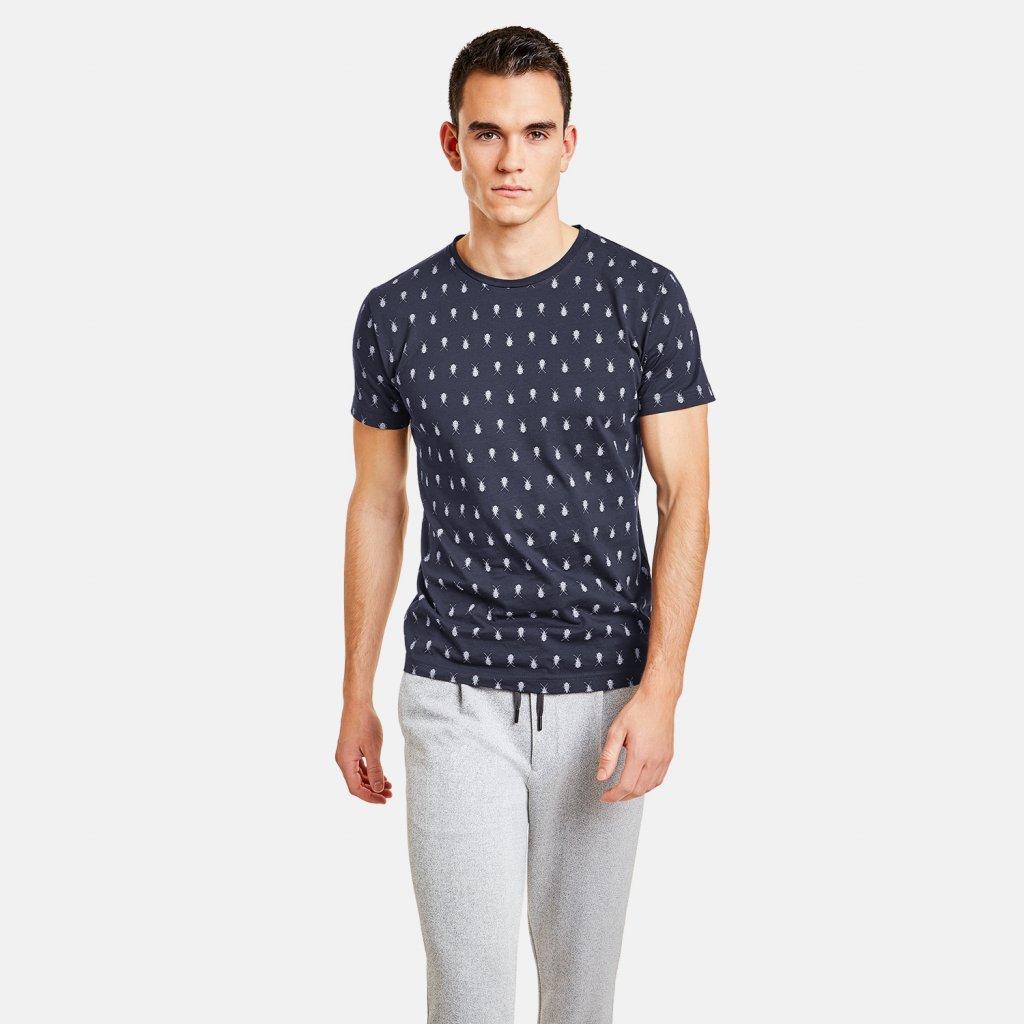 Pánske modré tričko s potlačou NEW IN TOWN, slim fit