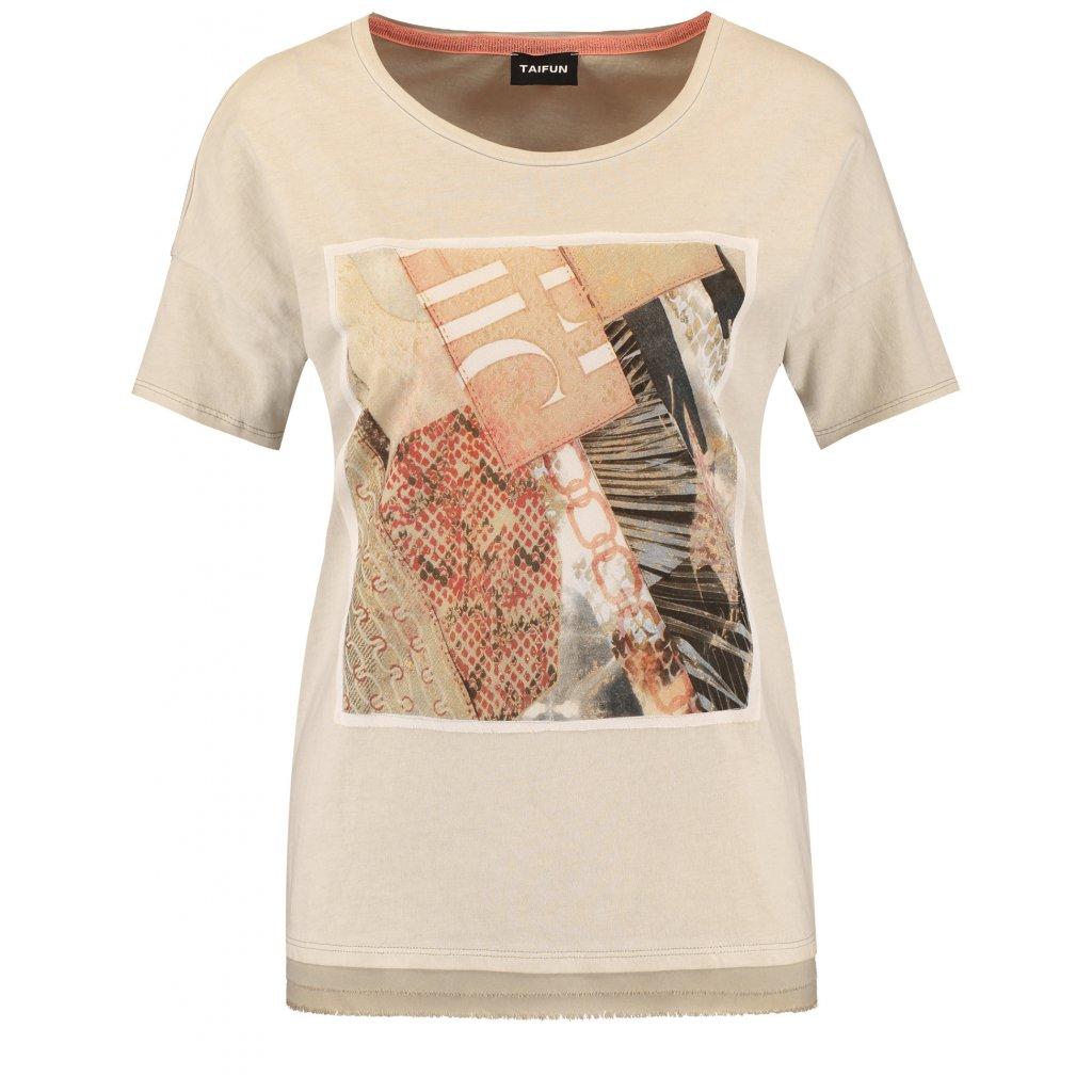 Dámske bavlnené tričko so šifónovou aplikáciou TAIFUN