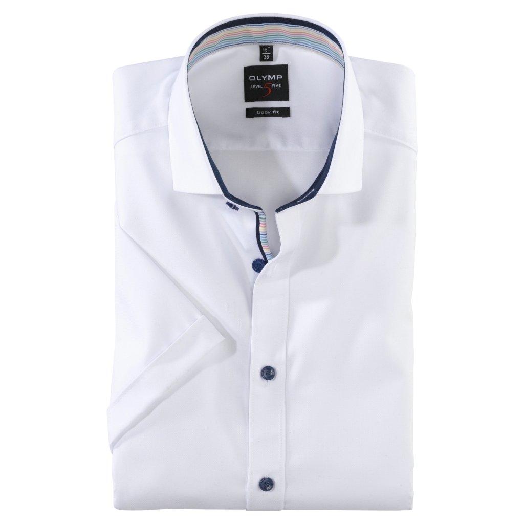 Biela košeľa s krátkym rukávom OLYMP, slim fit