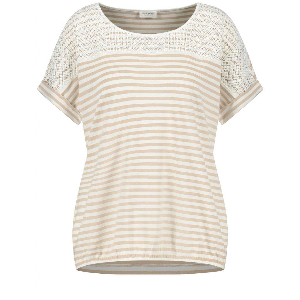 Béžové tričko s pásikmi GERRY WEBER