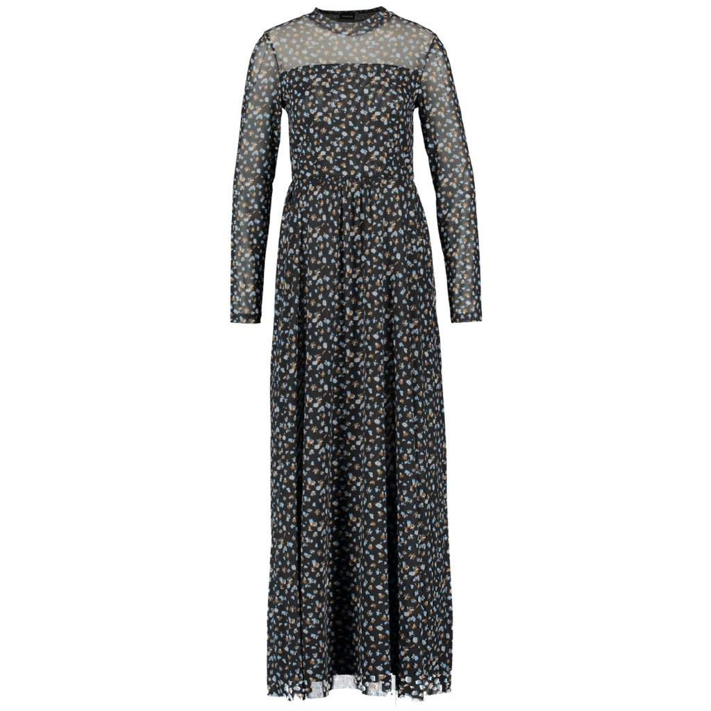 Dlhé čierne šaty z elestického tylu TAIFUN