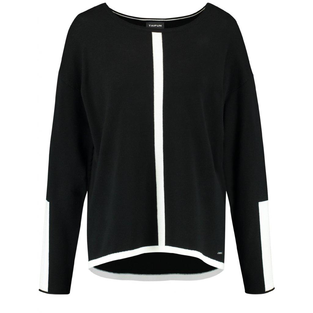 Čierny pulóver s kontrstnými bielymi pruhmi TAIFUN