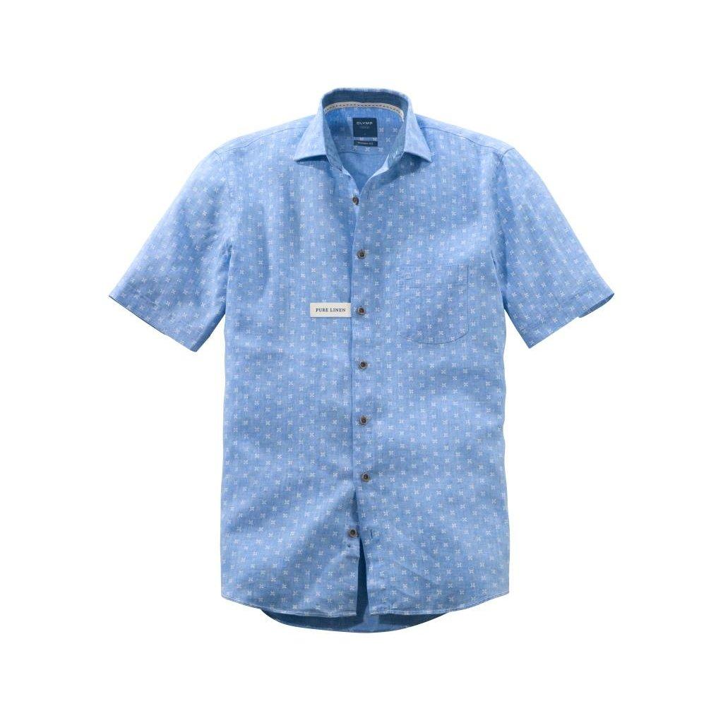 Pánska ľanová košeľa s krátkym rukávom OLYMP, modern fit