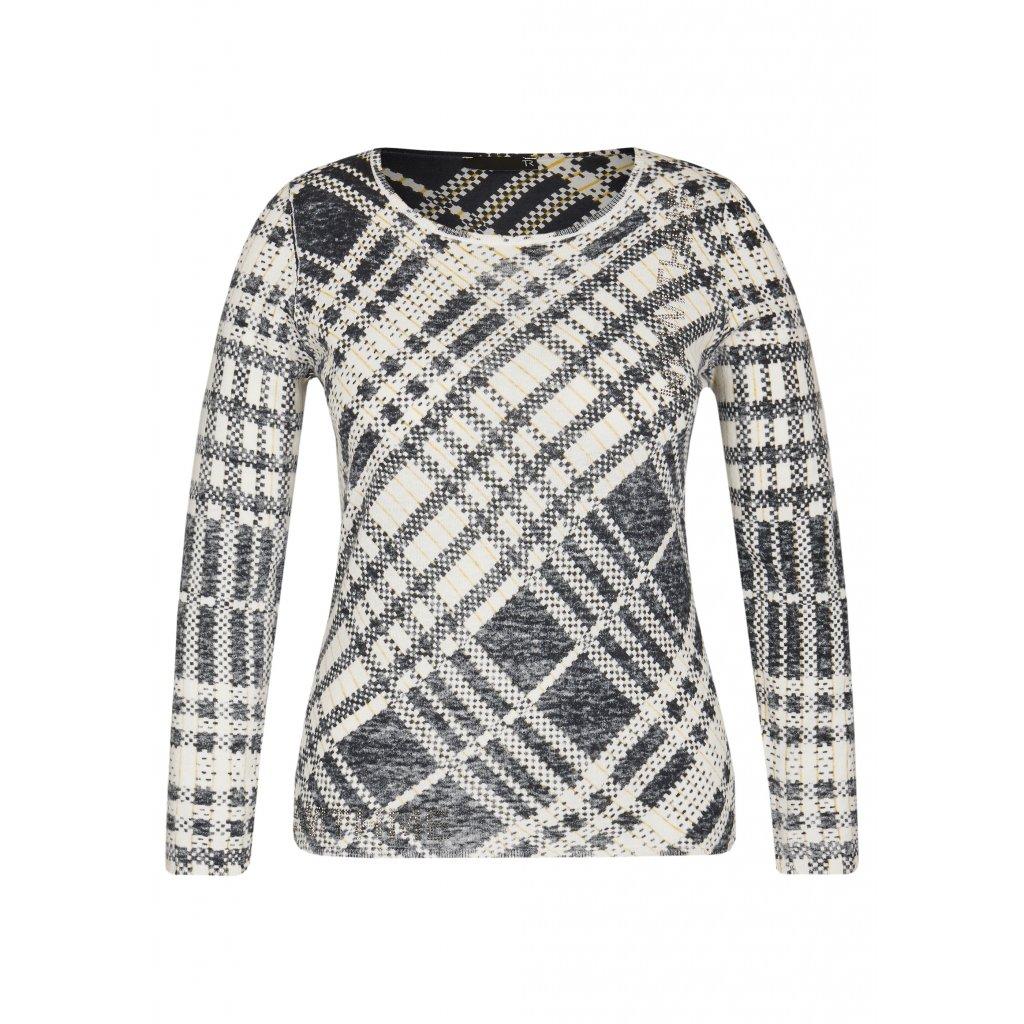 Priliehavý bavlnený pulóver s asymetrickým vzorom RABE