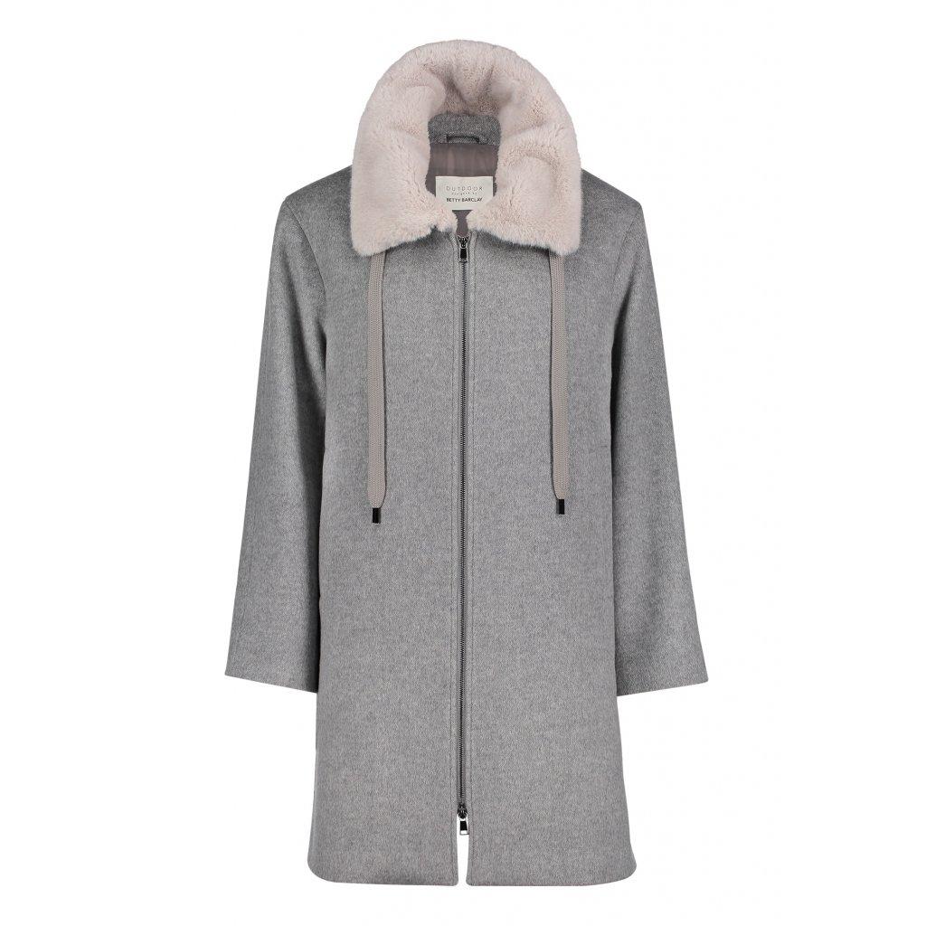 Dámsky kabát-pončo so svetlou kožušinou BETTY BARCLAY