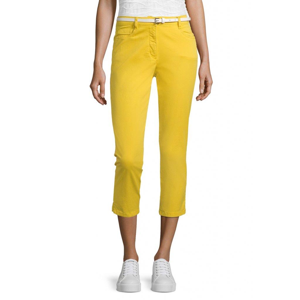 Dámske bavlnené žlté 7/8 nohavice s opaskom BETTY BARCLAY