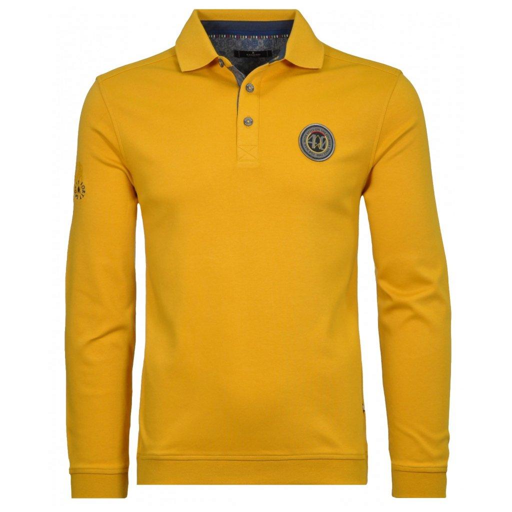 Pánske žlté bavlnené polo s dlhým rukávom RAGMAN