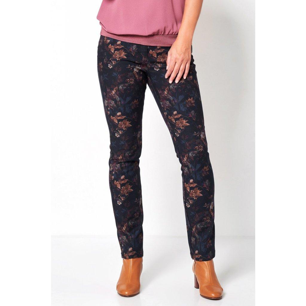 Dámske kvetinové pätvreckové  nohavice TONI DRESS, zoštíhlený strih