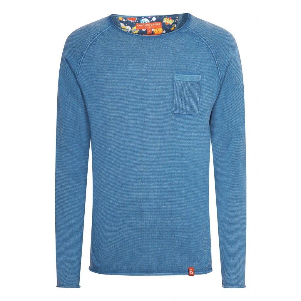 Bavlnený pulóver v denimovej farbe s vreckom COLOURS&SONS
