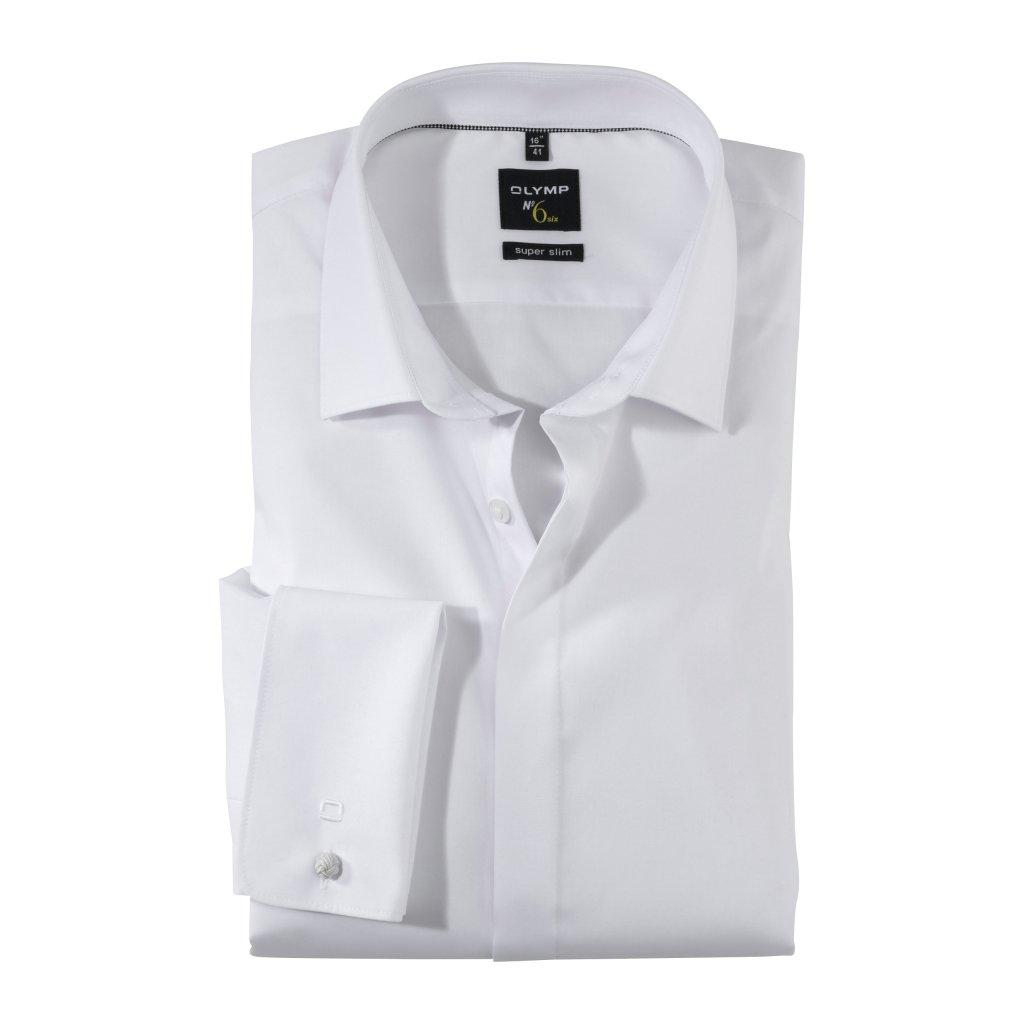 """Pánska biela spoločenská """"soirée"""" košeľa No.6 OLYMP, super slim"""