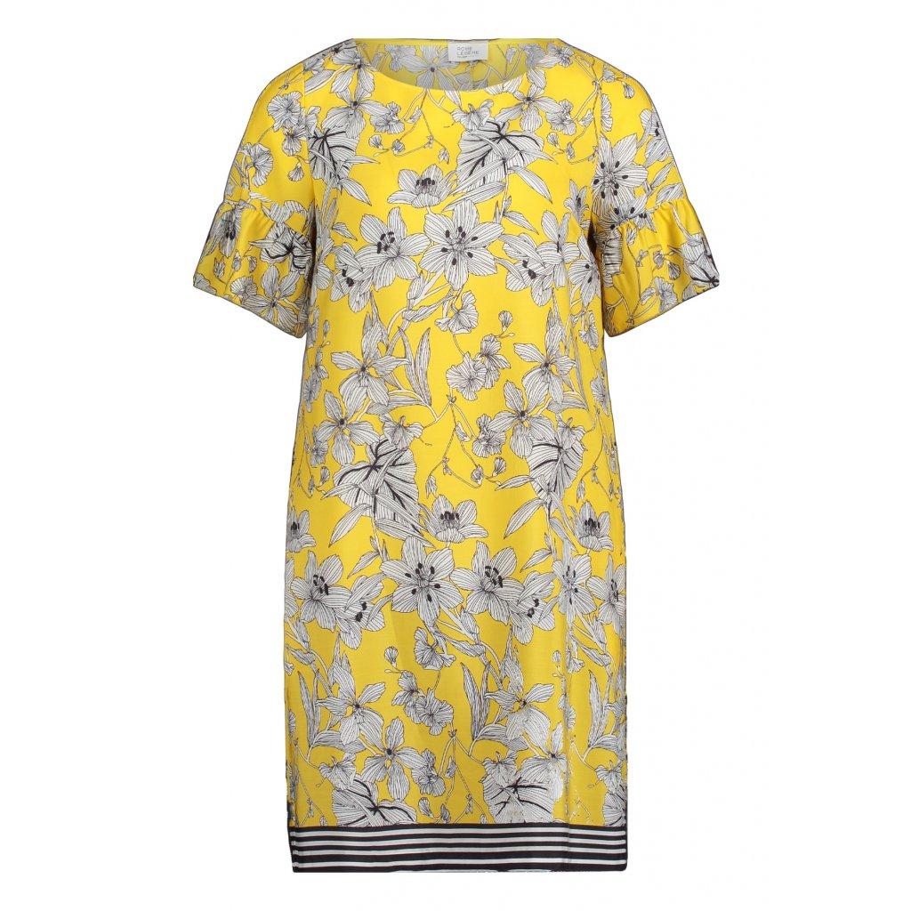 Dámske letné kvetované žlté šaty s modalu ROBE LEGERE