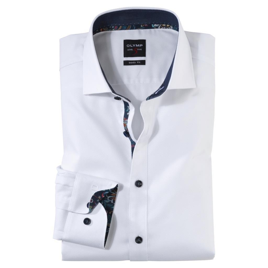 Pánska elegantná biela košeľa OLYMP, predĺžený rukáv, body fit