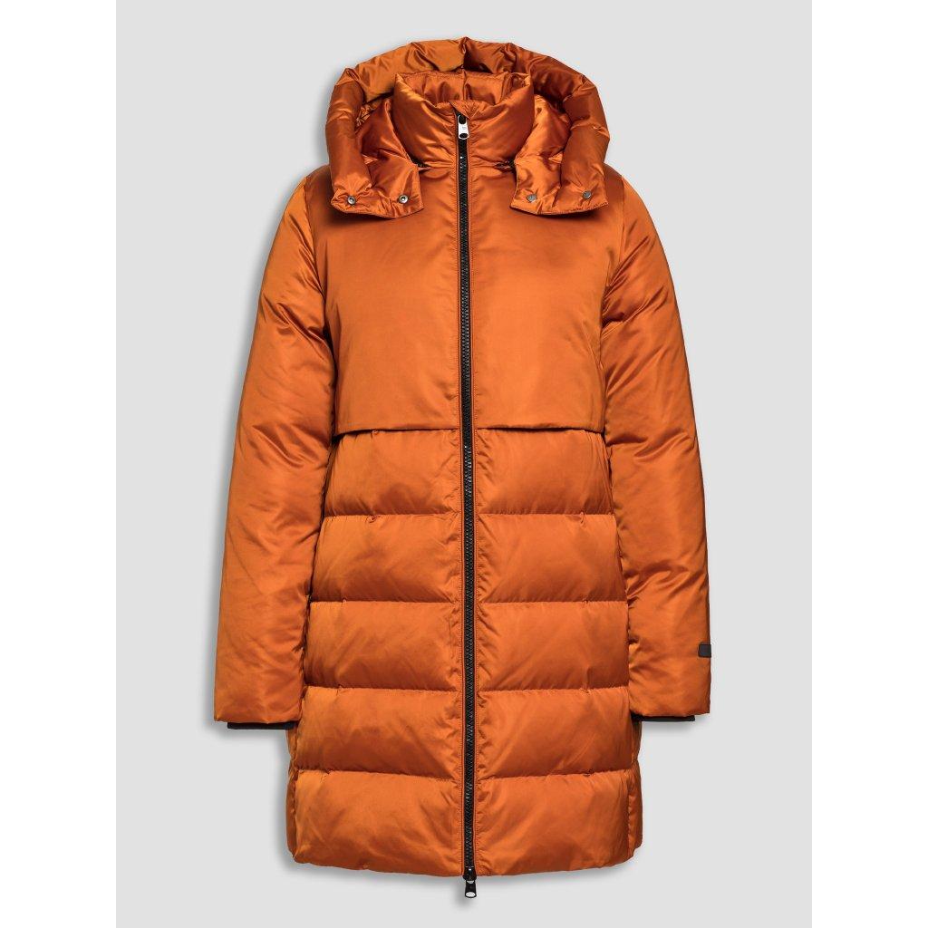 Dámska oranžová dlhá páperová bunda BEAUMONT