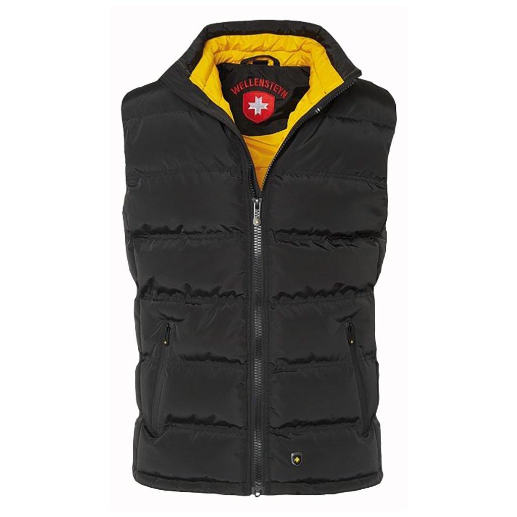 WELLENSTEYN Snowdome Vest Men - ľahká prechdodná čierna vesta s kontrastnou žltou podšívkou