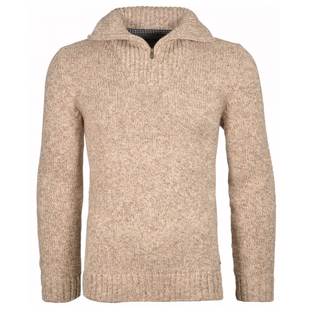 Pánsky béžový bavlnený sveter na zimu so stojačikom RAGMAN