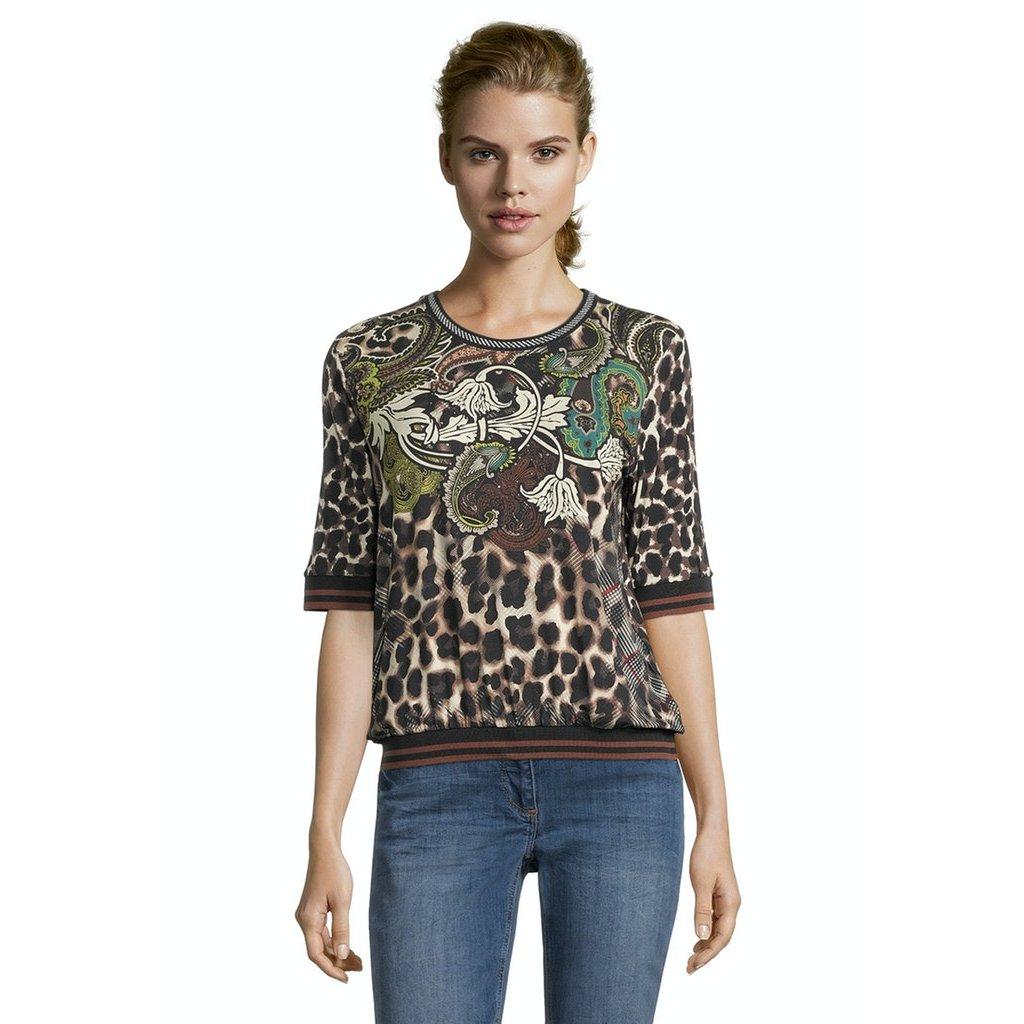 Dámske hnedozelené vzorované tričko BETTY BARCLAY