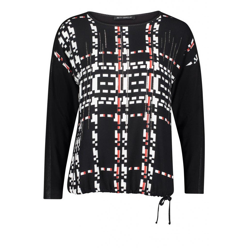 Dámske vzorované čierne tričko so šnúrkou BETTY BARCLAY
