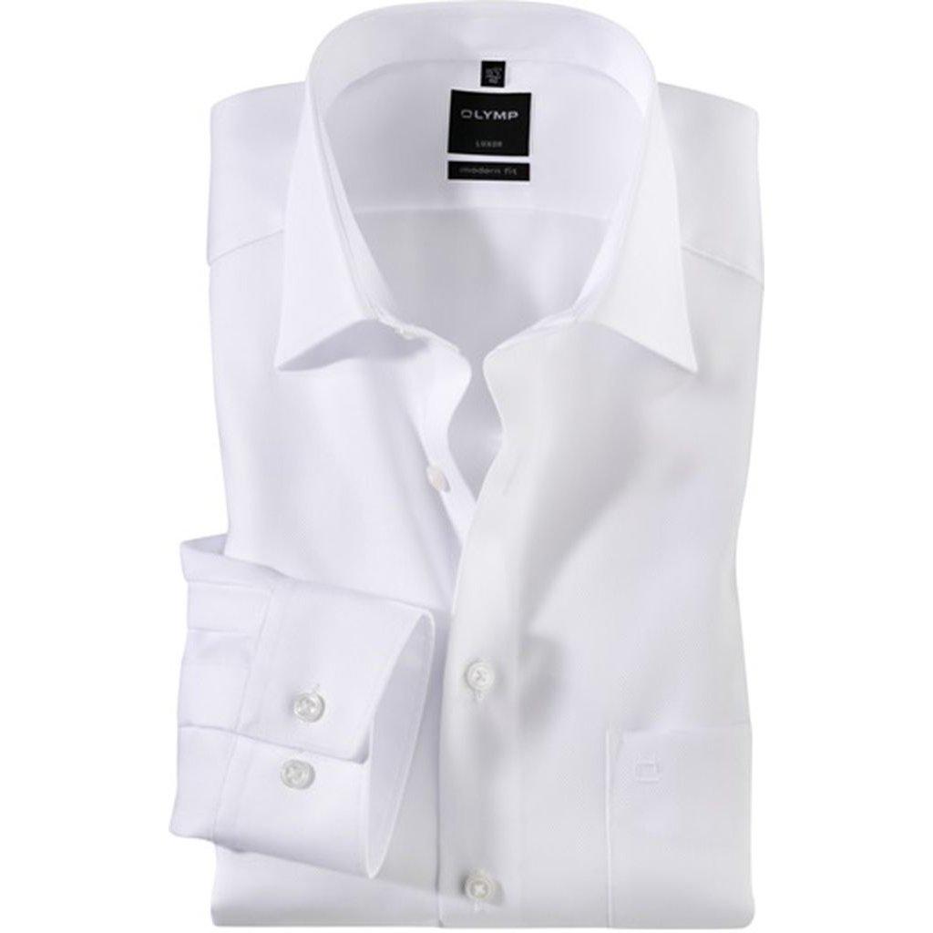 Mierne zoštíhlená biela pánska košeľa Olymp s dlhým rukávom