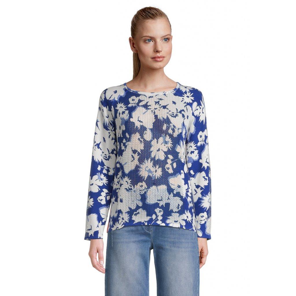 Dámsky modrý kvetinkový pulóver BETTY BARCLAY