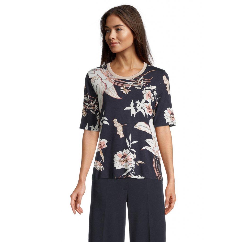 Dámske modré kvetinové tričko BETTY BARCLAY