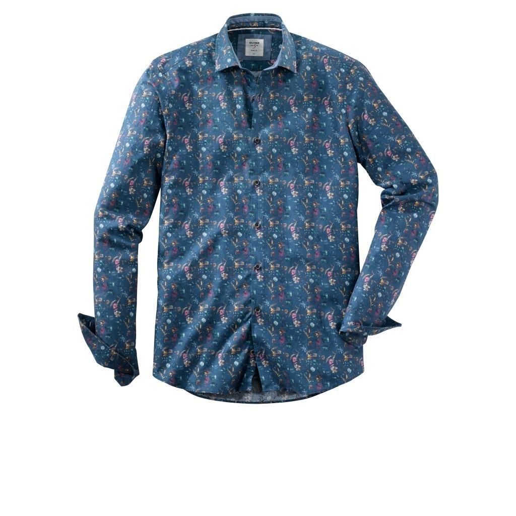 Pánska modrá casual košeľa OLYMP body fit