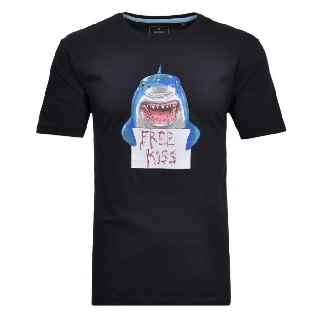 Pánske modré tričko so žralokom RAGMAN 5XL