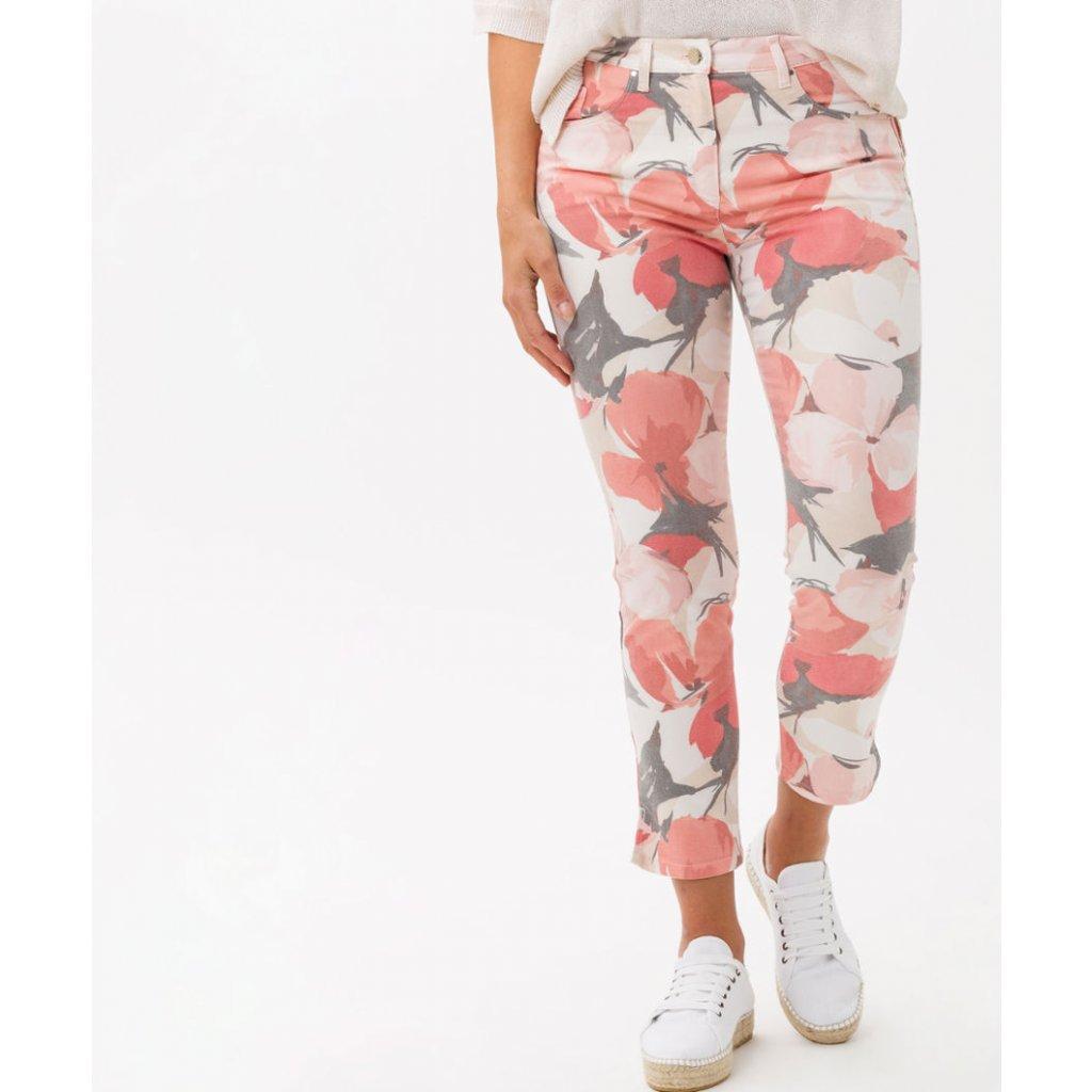 Dámske kvetované capri nohavice BRAX super slim