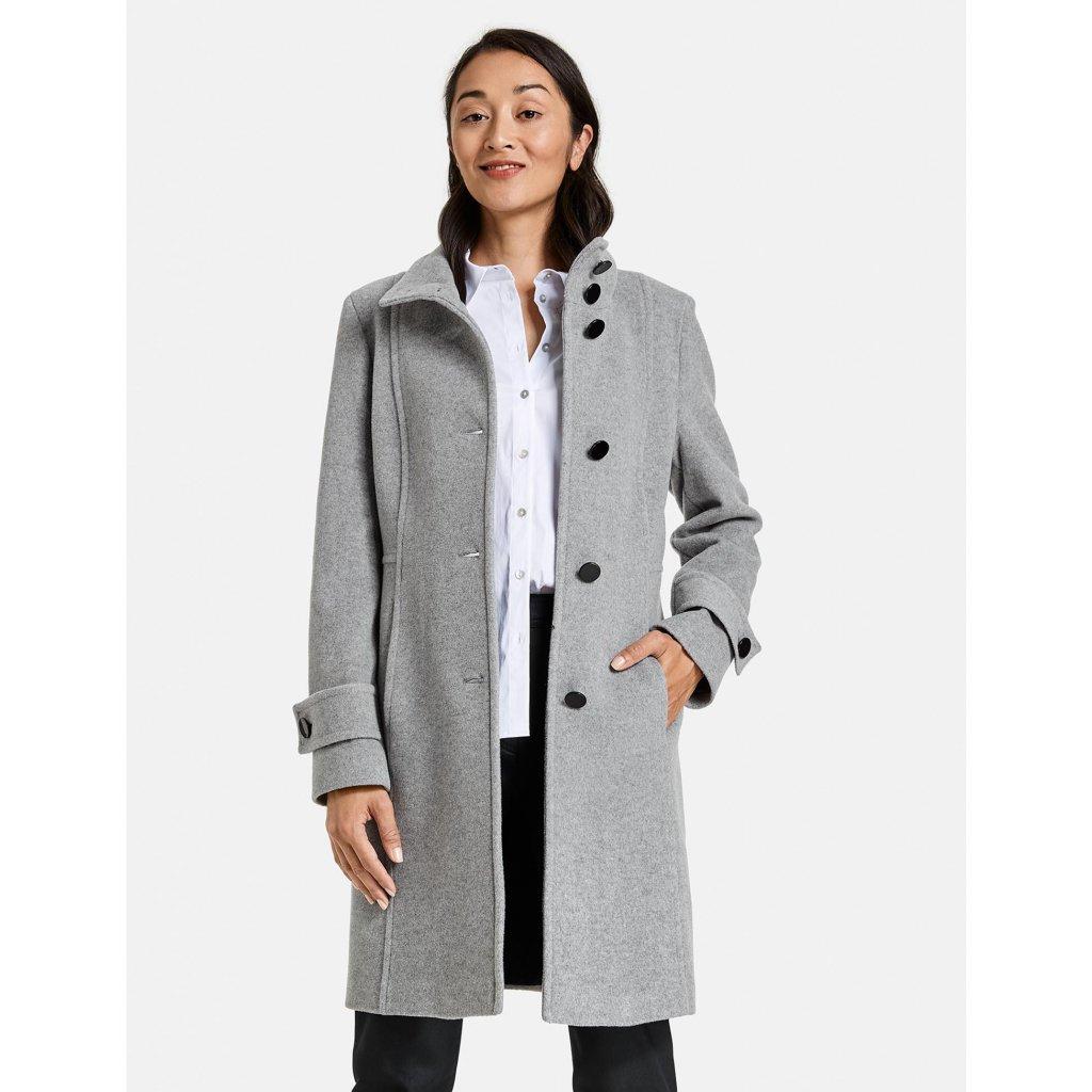 Dámsky sivý vlnený kabát s kašmírom GERRY WEBER