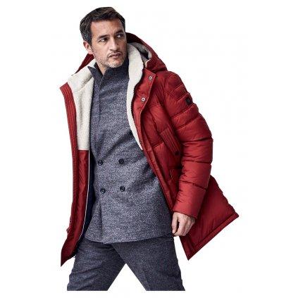 Luxusná pánska červená bunda na zimu S4 predĺžená