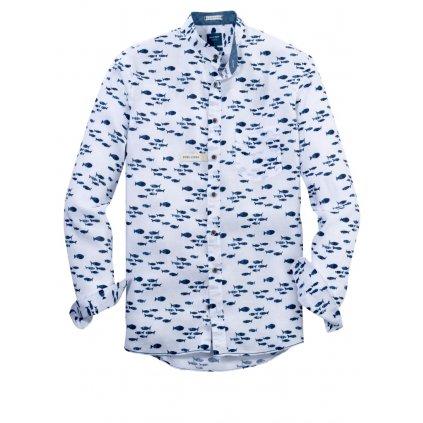 Pánska ľanová košeľa so stojačikom OLYMP