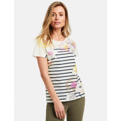 Dámske bavlnené pásikavé tričko s kvetmi GERRY WEBER