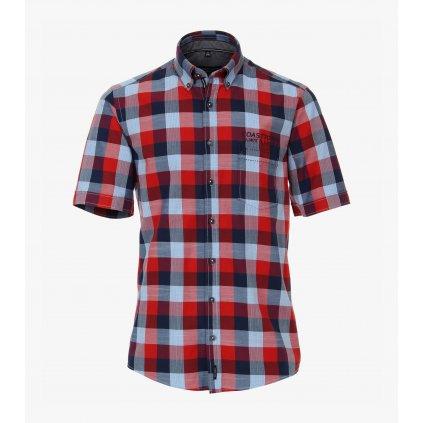 Pánska károvaná casual košeľa s krátkym rukávom CASA MODA