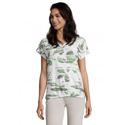 Dámske smotanové tričko so zelenými kvetinami BETTY BARCLAY