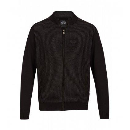 Pánsky pletený čierny sveter na zips HAJO, nadmerná veľkosť