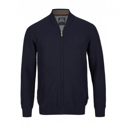 Pánsky modrý bavlnený pletený sveter na zips HAJO