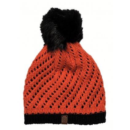 WELLENSTEYN červená čiapka s čiernym brmbolcom