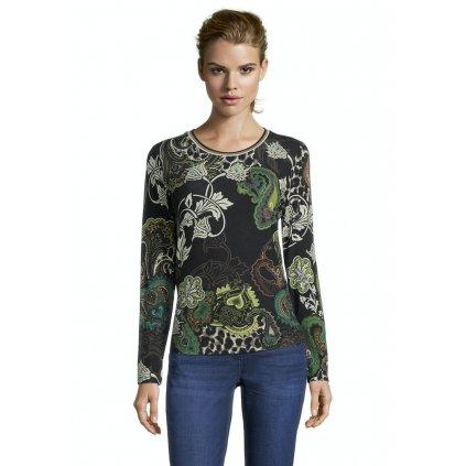 Dámske kvetované zeleno-čierne tričko BETTY BARCLAY