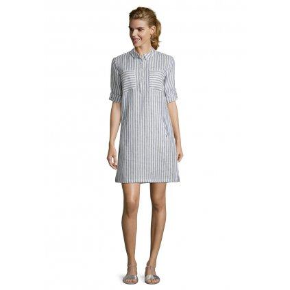 Dámske ľanové bielo-modré pásikavé šaty Betty&Co.
