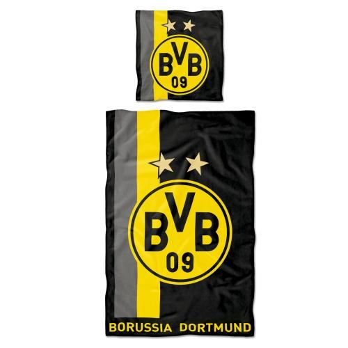 BVB Povlečení BORUSSIA DORTMUND stripes 135x200 / 80x80